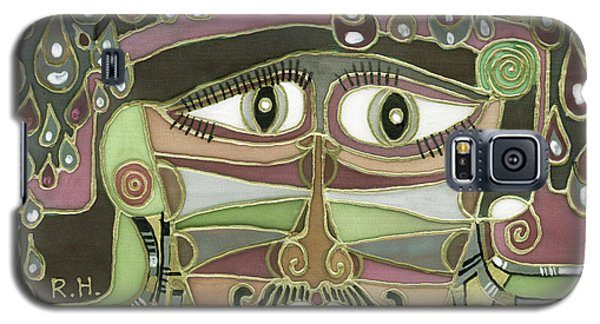 Surprize Drops Surrealistic Green Brown Face With  Liquid Drops Large Eyes Mustache  Galaxy S5 Case