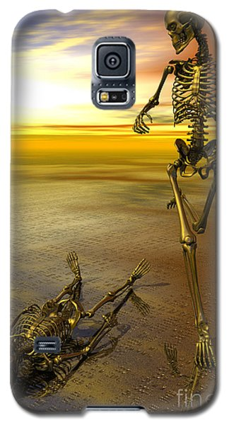 Surreal Skeleton Jogging Past Prone Skeleton With Sunset Galaxy S5 Case