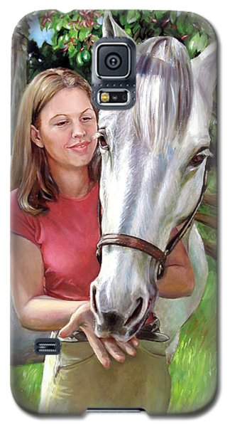 Galaxy S5 Case featuring the painting Suzanne With A White Horse by Nancy Tilles