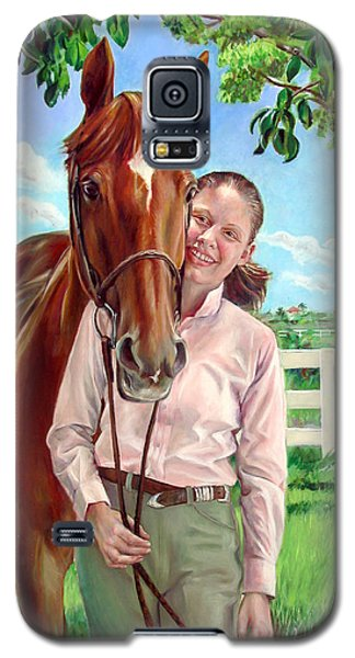 Galaxy S5 Case featuring the painting Suzanne With Her Horse by Nancy Tilles