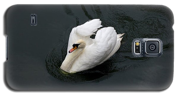 Galaxy S5 Case featuring the photograph Swan On Black Water by Les Palenik
