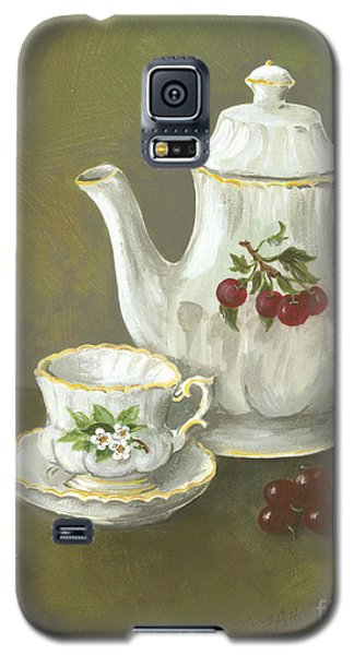 Galaxy S5 Case featuring the painting Tea With Cherries  by Nancy Patterson