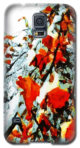 Galaxy S5 Case featuring the photograph The Autumn Leaves And Winter Snow by Steve Taylor