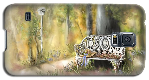 Galaxy S5 Case featuring the painting The Garden Bench by Bonnie Willis