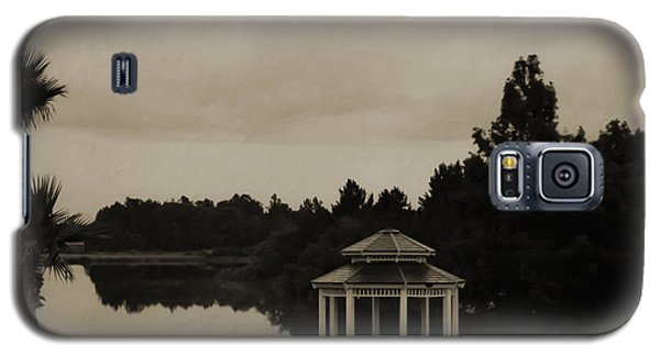Galaxy S5 Case featuring the photograph The Gazebo At The Lake by DigiArt Diaries by Vicky B Fuller