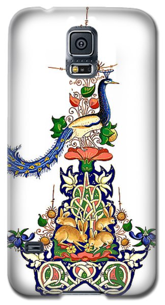 Galaxy S5 Case featuring the painting The Magnificent Peacock by Raffaella Lunelli