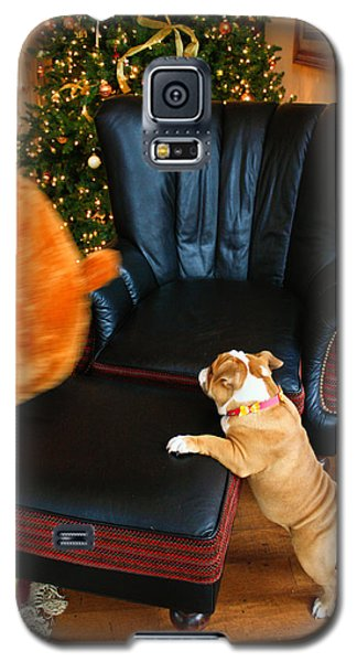 Galaxy S5 Case featuring the photograph The Puppy Chase by Ann Murphy