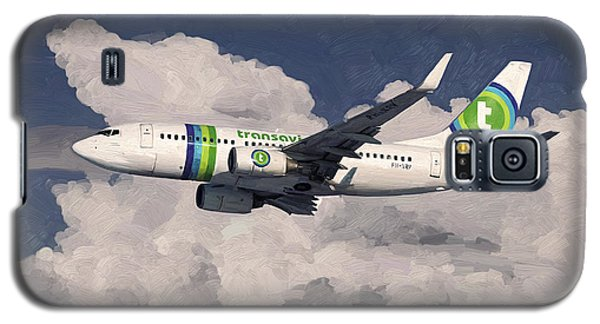 Galaxy S5 Case featuring the painting Transavia Boeing 737 by Nop Briex