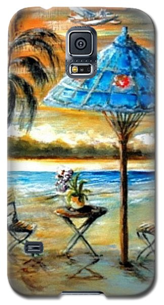 Galaxy S5 Case featuring the painting Tropical Sunset by Bernadette Krupa