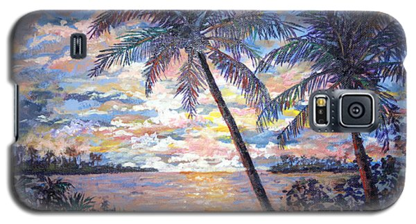 Galaxy S5 Case featuring the painting Tropical Sunset by Lou Ann Bagnall