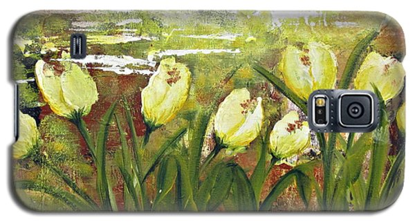 Galaxy S5 Case featuring the painting Tulip Dance by Kathy Sheeran