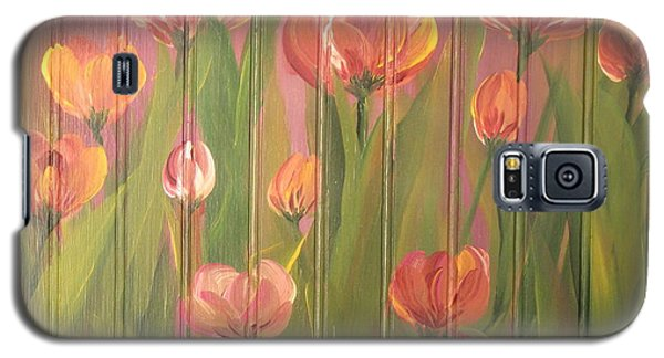 Galaxy S5 Case featuring the painting Tulip Field by Kathy Sheeran