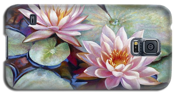 Galaxy S5 Case featuring the painting Twin Water Lilies And Reflection by Nancy Tilles