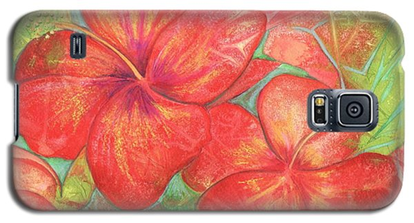 Galaxy S5 Case featuring the painting Two Hibiscus Blossoms by Carla Parris