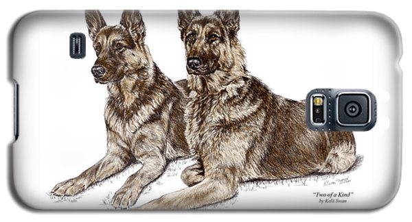 Galaxy S5 Case featuring the drawing Two Of A Kind - German Shepherd Dogs Print Color Tinted by Kelli Swan