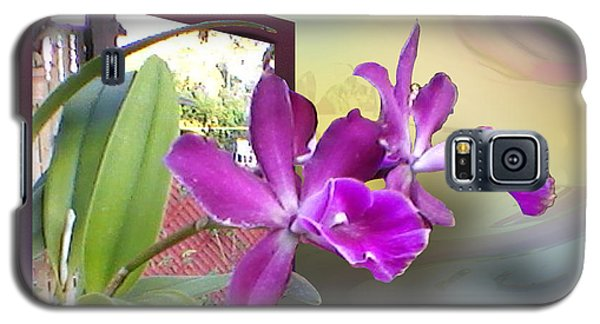 Galaxy S5 Case featuring the digital art Two Orchids by Ginny Schmidt