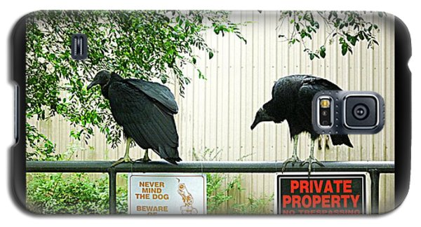 Galaxy S5 Case featuring the photograph Vultures Guarding Property by Renee Trenholm