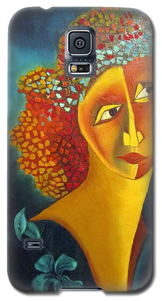 Waiting For Partner Orange Woman Blue Cubist Face Torso Tinted Hair Bold Eyes Neck Flower On Dress Galaxy S5 Case