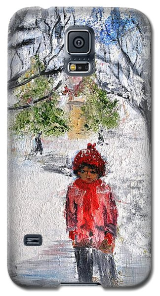Galaxy S5 Case featuring the painting Walking Alone by Evelina Popilian