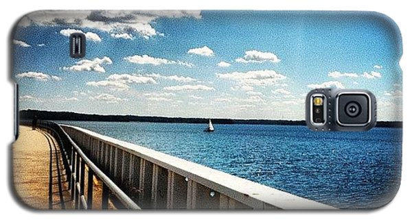 Sunny Galaxy S5 Case - Walking The Dam  by Lea Ward