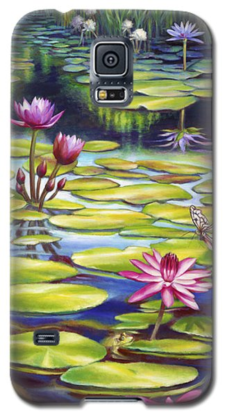 Galaxy S5 Case featuring the painting Water Lilies At Mckee Gardens II - Butterfly And Frog by Nancy Tilles