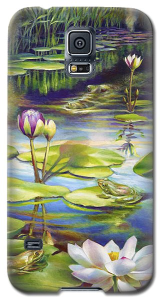 Galaxy S5 Case featuring the painting Water Lilies At Mckee Gardens IIi - Alligator And Frogs by Nancy Tilles