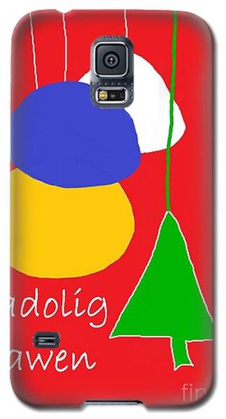 Galaxy S5 Case featuring the digital art Welsh Christmas Card by Barbara Moignard