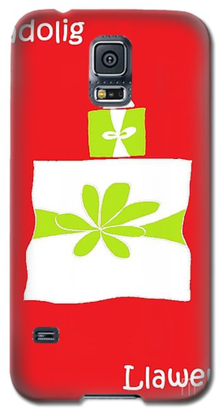 Galaxy S5 Case featuring the digital art Welsh Merry Christmas Red by Barbara Moignard