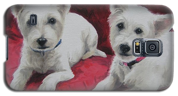 Galaxy S5 Case featuring the painting Westies by Jindra Noewi