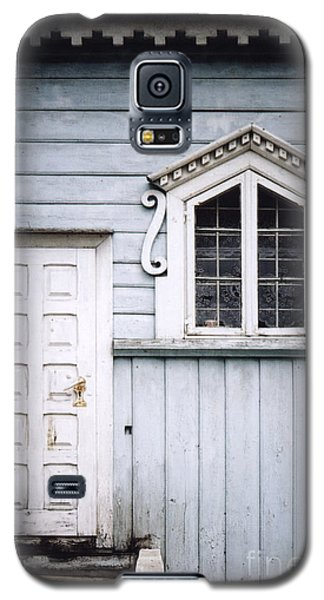 Galaxy S5 Case featuring the photograph White Doors And Window On Bluish Wooden Wall by Agnieszka Kubica