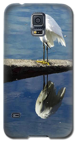 Galaxy S5 Case featuring the digital art White Heron by Anne Mott