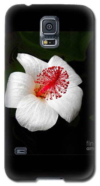 Galaxy S5 Case featuring the photograph White Hibiscus Flower by Rebecca Margraf