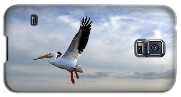 Galaxy S5 Case featuring the photograph White Pelican Flying Over Island by Dan Friend