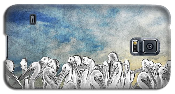 Galaxy S5 Case featuring the photograph White Pelicans In Group by Dan Friend
