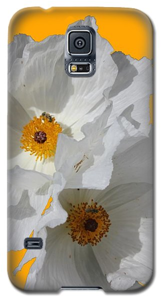 White Poppies On Yellow Galaxy S5 Case