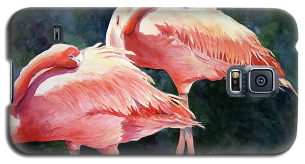 Galaxy S5 Case featuring the painting Who's Peek'n - Flamingos by Roxanne Tobaison