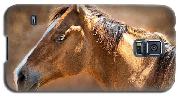 Galaxy S5 Case featuring the digital art Wild Mustang by Mary Almond