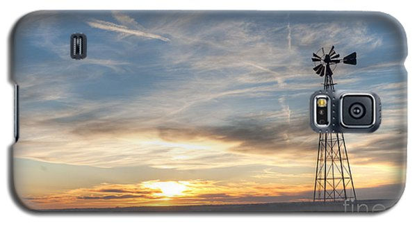 Galaxy S5 Case featuring the photograph Windmill And Sunset by Art Whitton