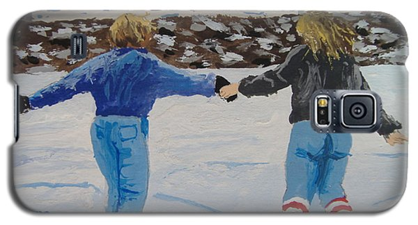Galaxy S5 Case featuring the painting Winter Fun by Norm Starks
