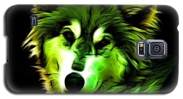 Galaxy S5 Case featuring the digital art Wolf - Green by James Ahn
