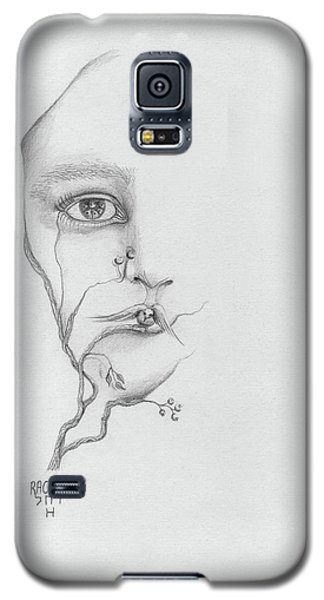 Woman Face Growing Out Of A Tree Branch Black And White Surrealistic Fantasy  Galaxy S5 Case by Rachel Hershkovitz