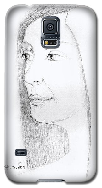 Woman In Black And White Long Hair Red Lips And Shoulders  Galaxy S5 Case by Rachel Hershkovitz