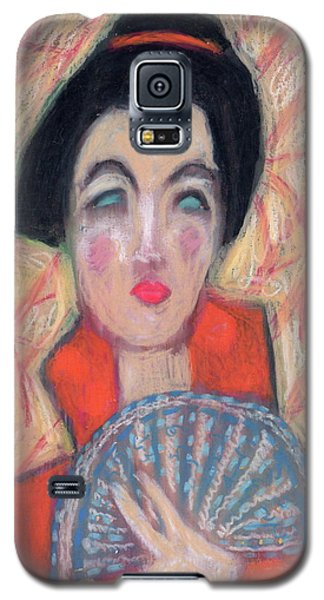 Woman With Fan Galaxy S5 Case