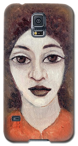 Woman With Large Dark Brown Eyes And Hair Orange Shirt Dark Eyebrows  Galaxy S5 Case by Rachel Hershkovitz