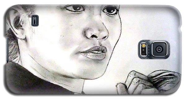 Galaxy S5 Case featuring the drawing Woman's Boxing Champion Filipino American Ana Julaton by Jim Fitzpatrick