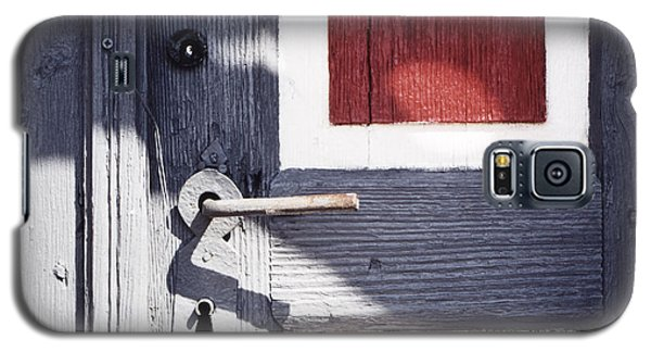 Galaxy S5 Case featuring the photograph Wooden Doors With Handle In Blue by Agnieszka Kubica