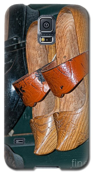 Galaxy S5 Case featuring the digital art Wooden Shoe Sandals by Carol Ailles