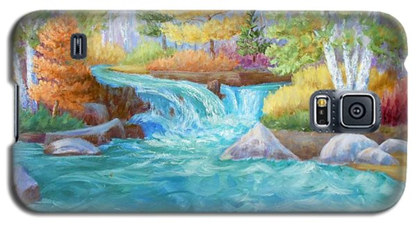 Galaxy S5 Case featuring the painting Woodland Stream by Irene Hurdle