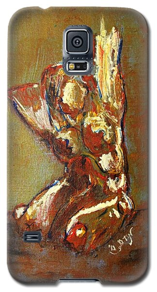 Galaxy S5 Case featuring the painting Yellow Orange Expressionist Nude Female Figure Statue Coming Alive Bold Anatomy Painting by MendyZ M Zimmerman