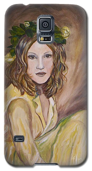 Galaxy S5 Case featuring the painting Yellow Rose by Julie Brugh Riffey